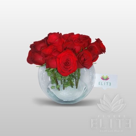 16 Rosa En Pecera De Cristal